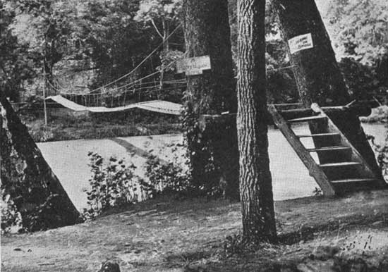 historic photo of Turkey Run State Park suspension bridge