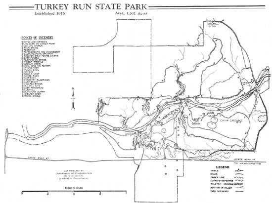 historic 1930s map of Turkey Run State Park